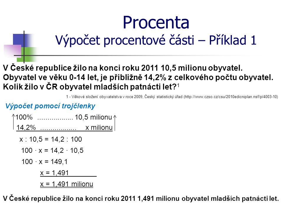 Procenta Výpočet procentové části – Příklad 1