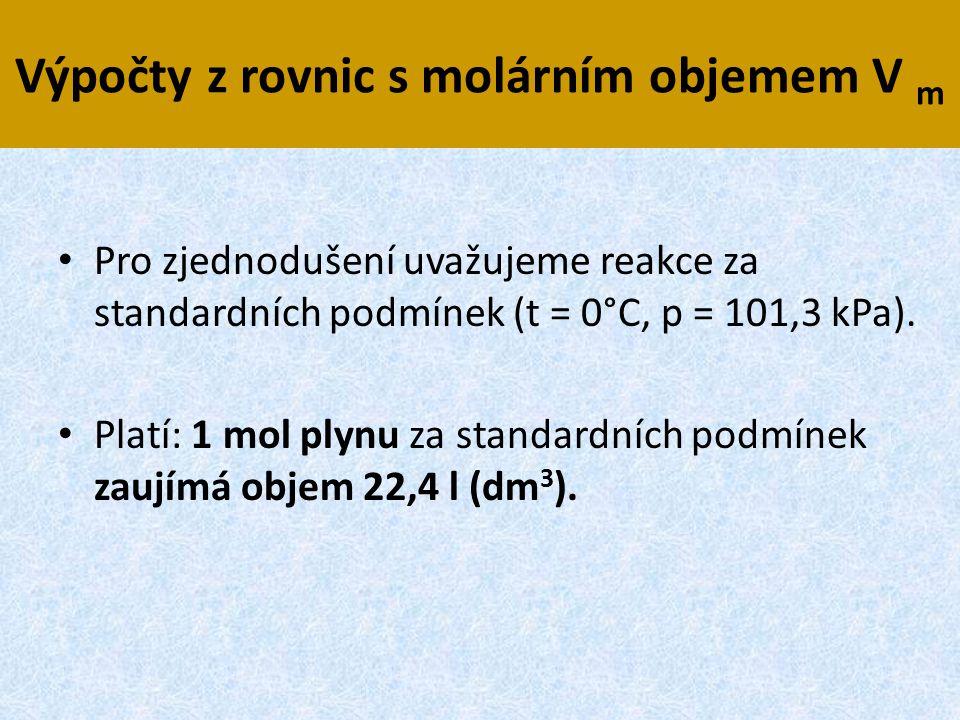 Výpočty z rovnic s molárním objemem V m