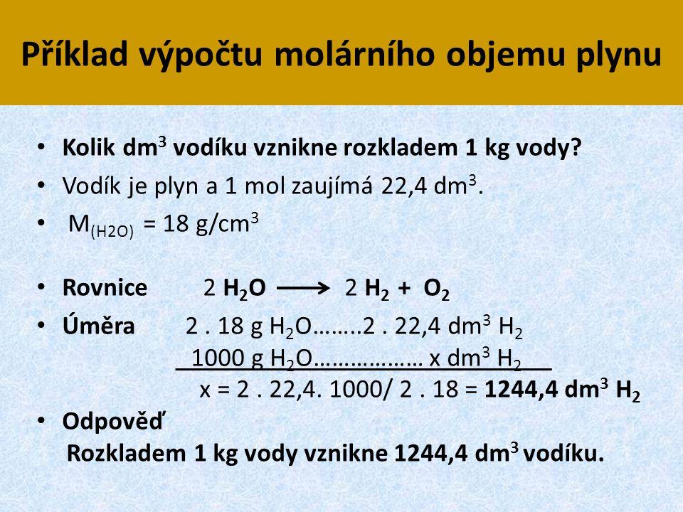 Příklad výpočtu molárního objemu plynu