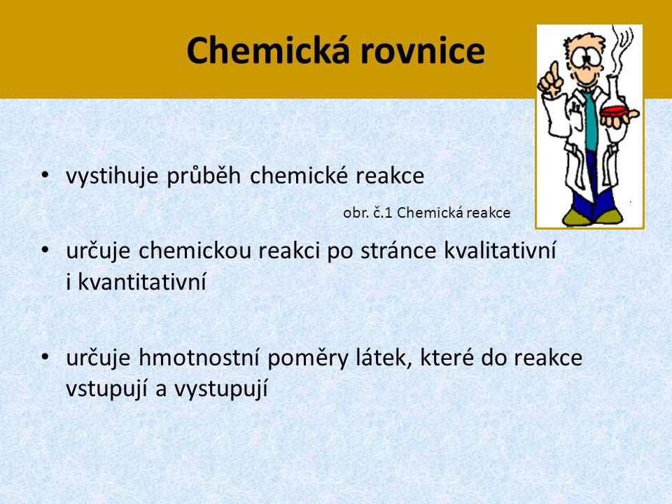 Chemická rovnice vystihuje průběh chemické reakce
