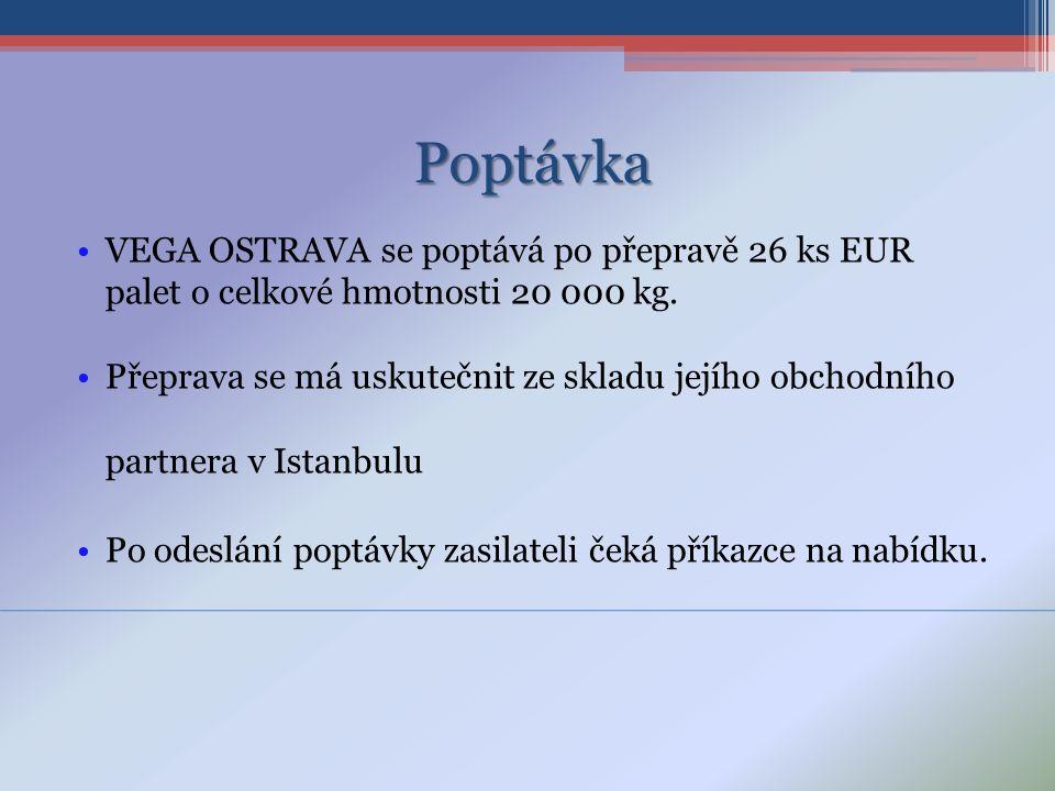 Poptávka VEGA OSTRAVA se poptává po přepravě 26 ks EUR palet o celkové hmotnosti 20 000 kg.