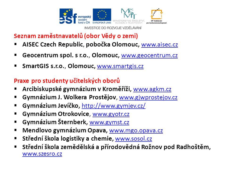 Seznam zaměstnavatelů (obor Vědy o zemi)