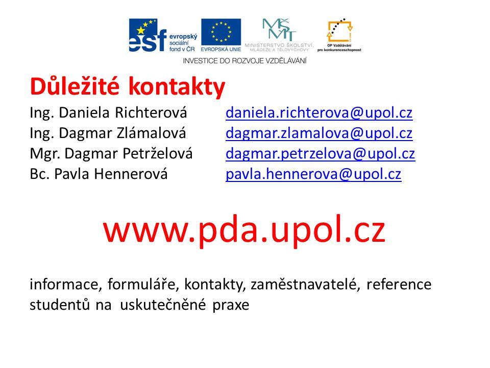 Důležité kontakty Ing. Daniela Richterová. daniela. richterova@upol