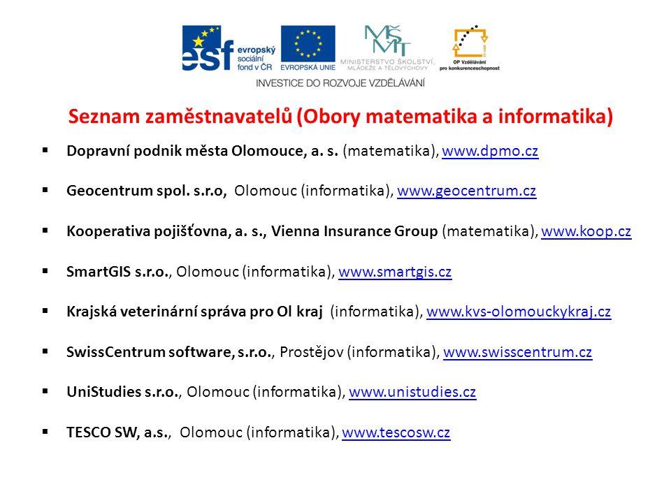 Seznam zaměstnavatelů (Obory matematika a informatika)