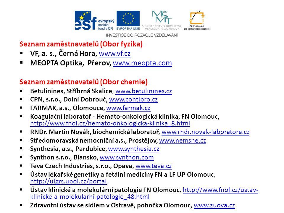 Seznam zaměstnavatelů (Obor fyzika) VF, a. s., Černá Hora, www.vf.cz