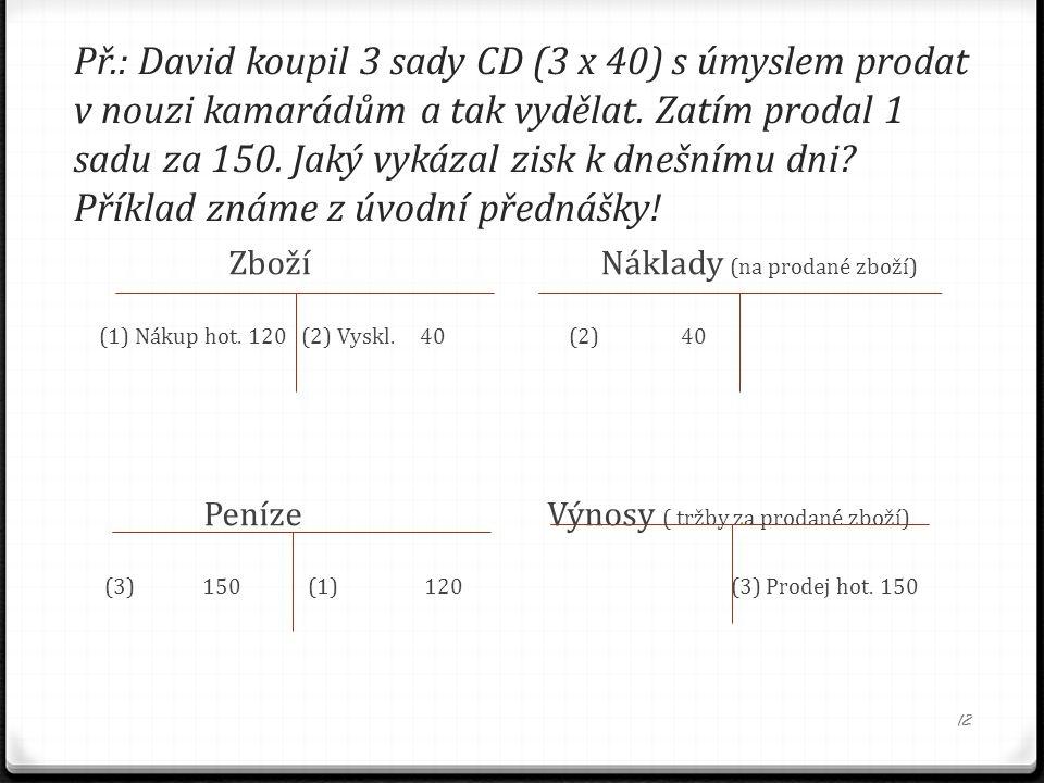 Př.: David koupil 3 sady CD (3 x 40) s úmyslem prodat v nouzi kamarádům a tak vydělat. Zatím prodal 1 sadu za 150. Jaký vykázal zisk k dnešnímu dni Příklad známe z úvodní přednášky!