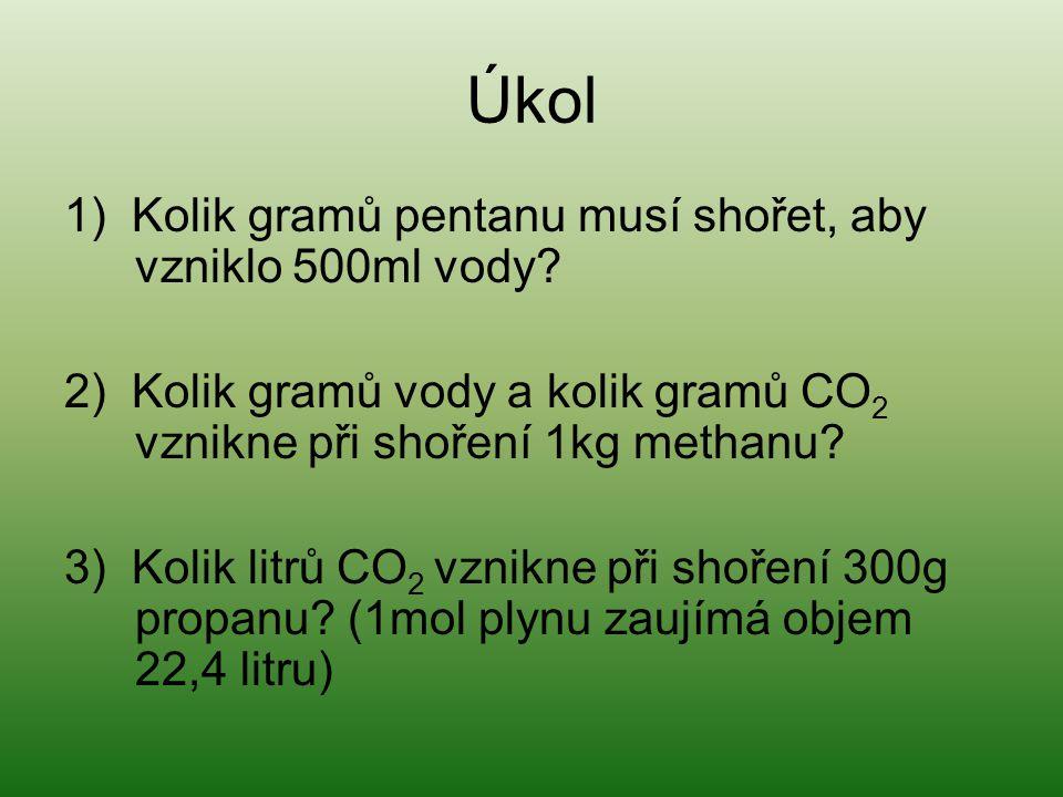 Úkol 1) Kolik gramů pentanu musí shořet, aby vzniklo 500ml vody