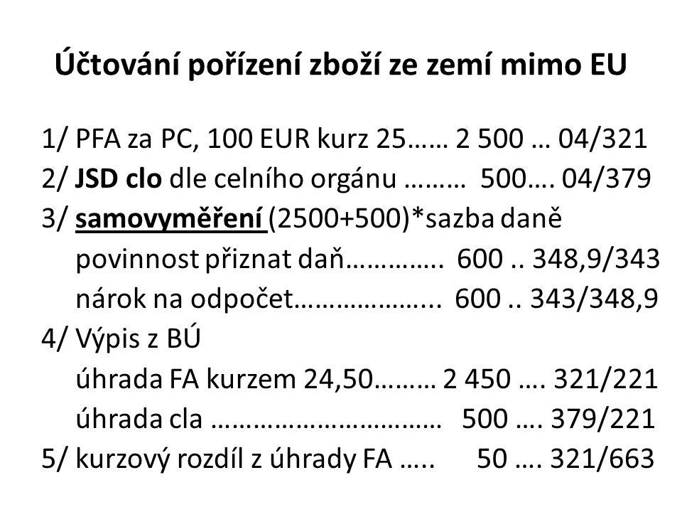 Účtování pořízení zboží ze zemí mimo EU