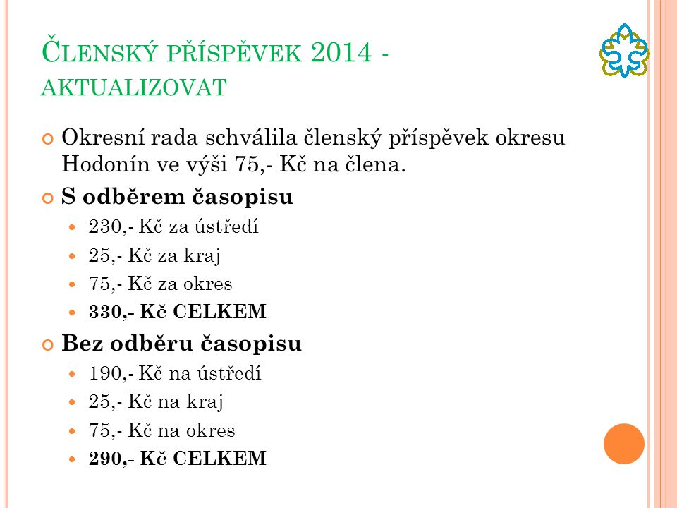 Členský příspěvek 2014 - aktualizovat