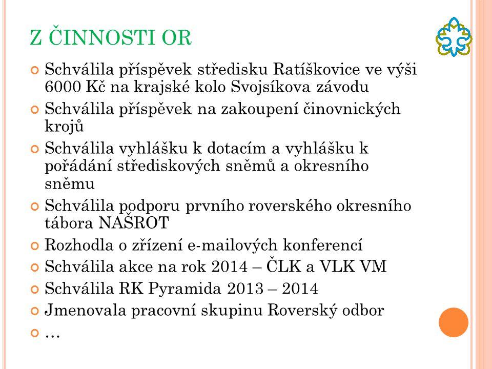 Z ČINNOSTI OR Schválila příspěvek středisku Ratíškovice ve výši 6000 Kč na krajské kolo Svojsíkova závodu.