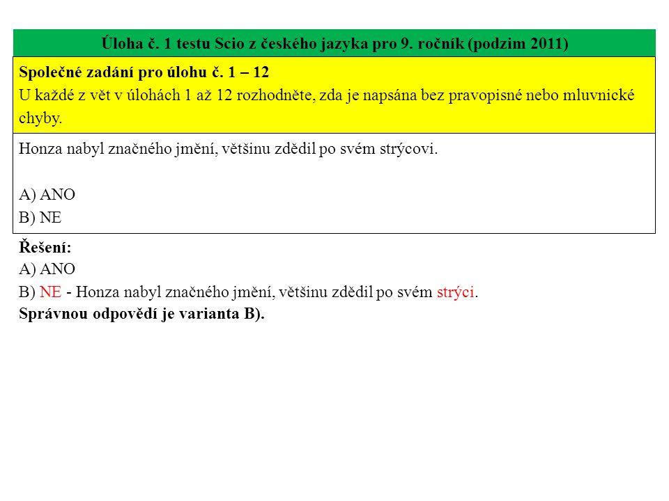 Úloha č. 1 testu Scio z českého jazyka pro 9. ročník (podzim 2011)