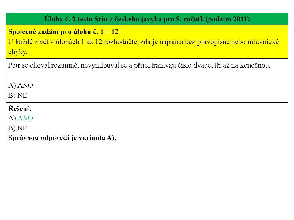 Úloha č. 2 testu Scio z českého jazyka pro 9. ročník (podzim 2011)
