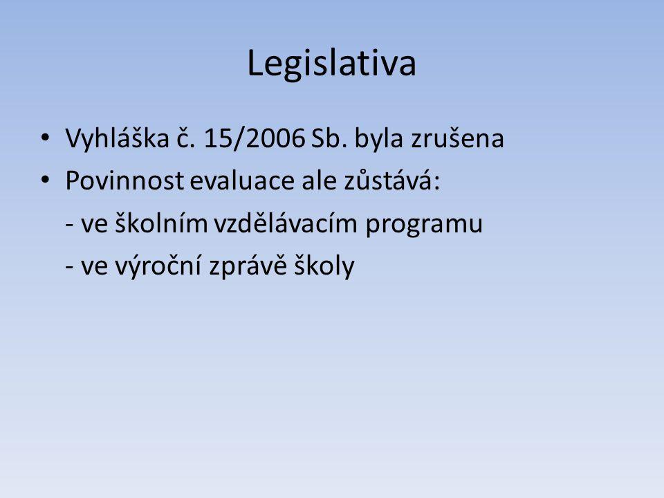 Legislativa Vyhláška č. 15/2006 Sb. byla zrušena