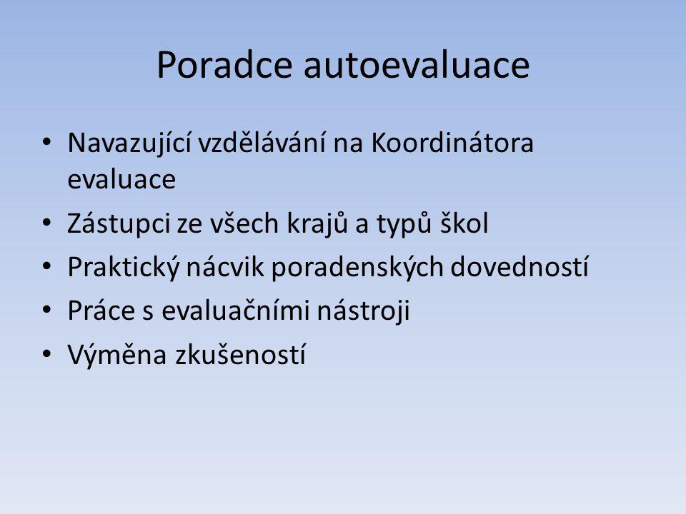 Poradce autoevaluace Navazující vzdělávání na Koordinátora evaluace