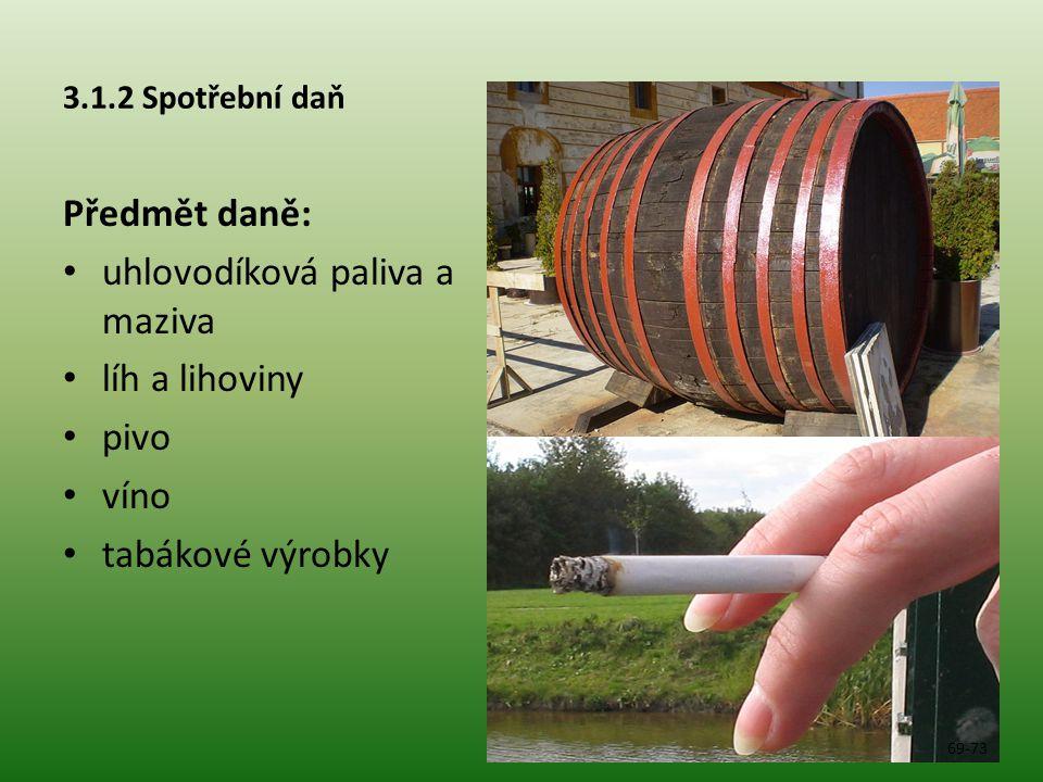 uhlovodíková paliva a maziva líh a lihoviny pivo víno tabákové výrobky