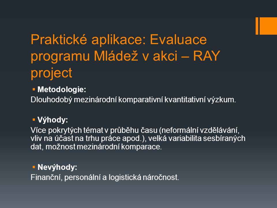 Praktické aplikace: Evaluace programu Mládež v akci – RAY project