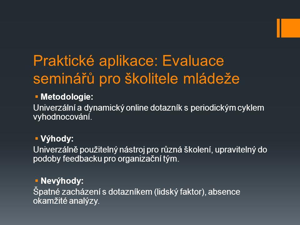 Praktické aplikace: Evaluace seminářů pro školitele mládeže