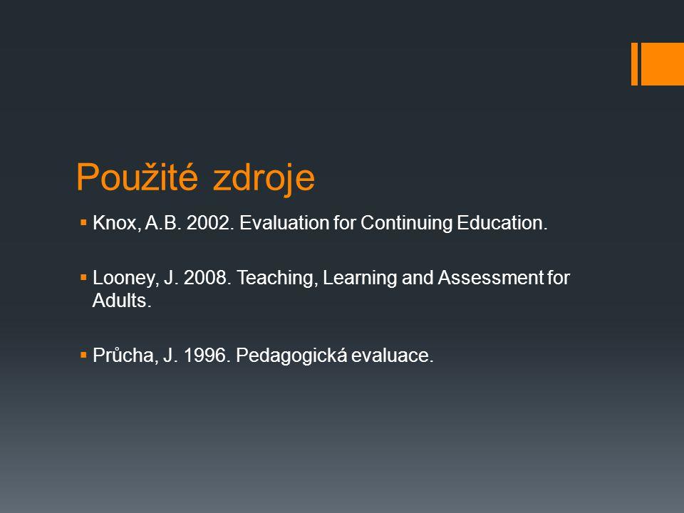 Použité zdroje Knox, A.B. 2002. Evaluation for Continuing Education.