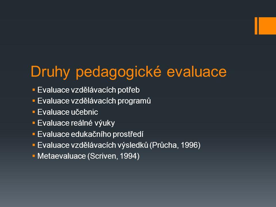 Druhy pedagogické evaluace