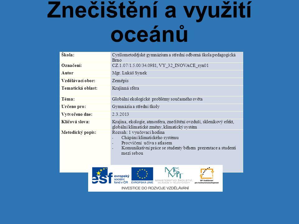 Znečištění a využití oceánů