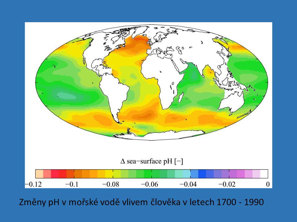 Změny pH v mořské vodě vlivem člověka v letech 1700 - 1990