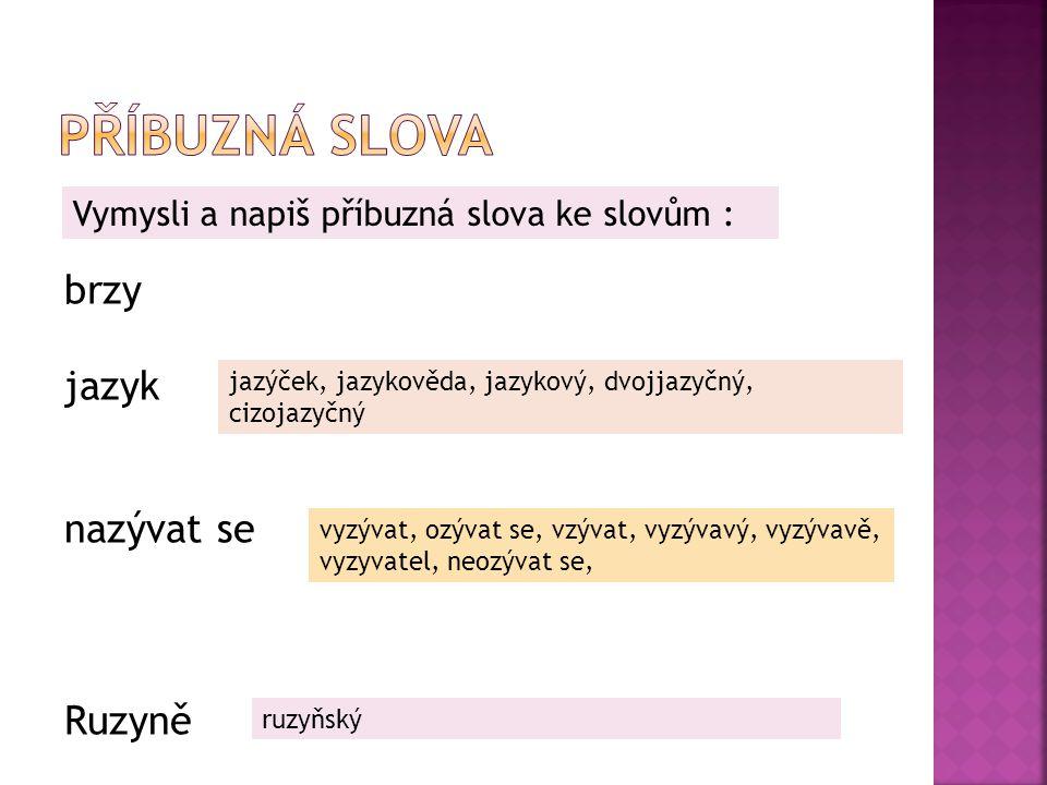 Příbuzná slova brzy jazyk nazývat se Ruzyně
