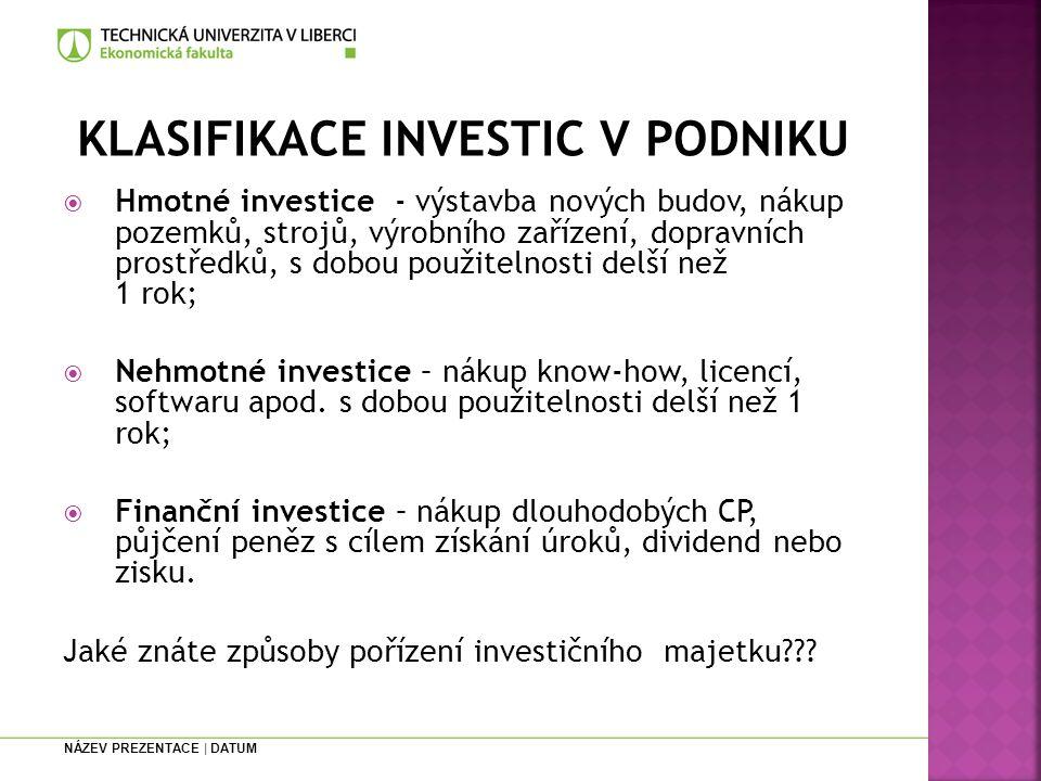 KLASIFIKACE INVESTIC V PODNIKU