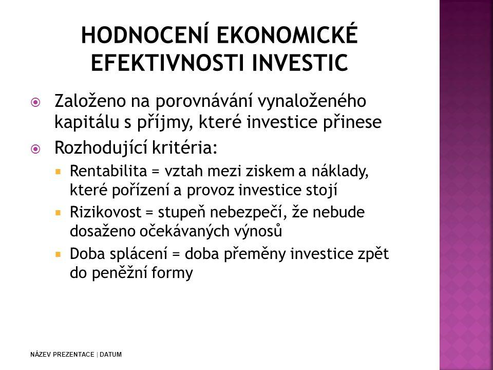 HODNOCENÍ EKONOMICKÉ EFEKTIVNOSTI INVESTIC