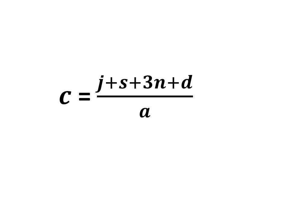 𝒄 = 𝒋+𝒔+𝟑𝒏+𝒅 𝒂