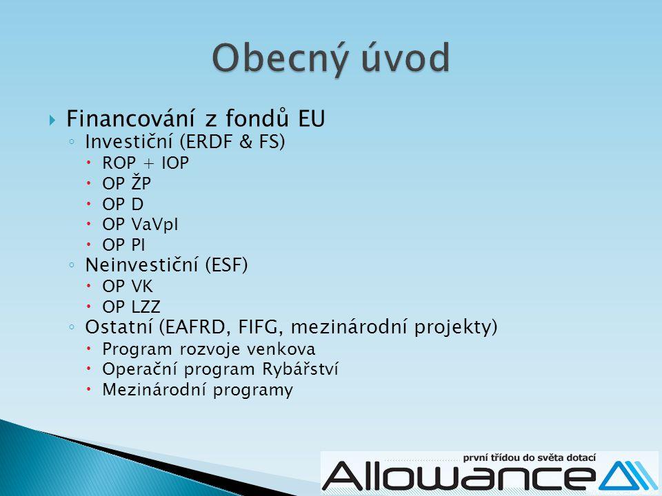 Obecný úvod Financování z fondů EU Investiční (ERDF & FS)