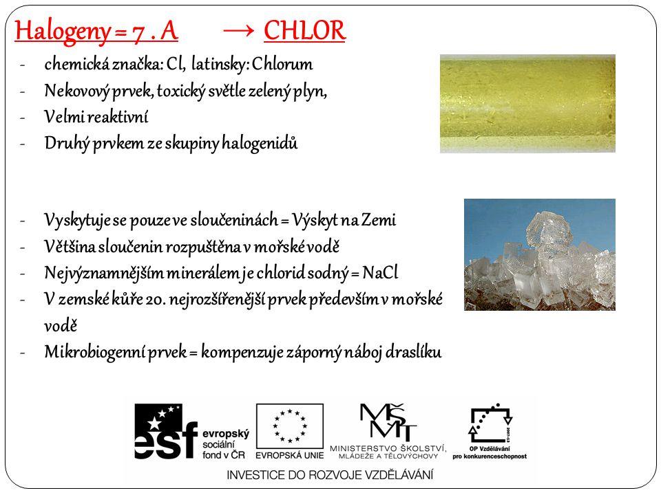 Halogeny = 7 . A chlor chemická značka: Cl, latinsky: Chlorum
