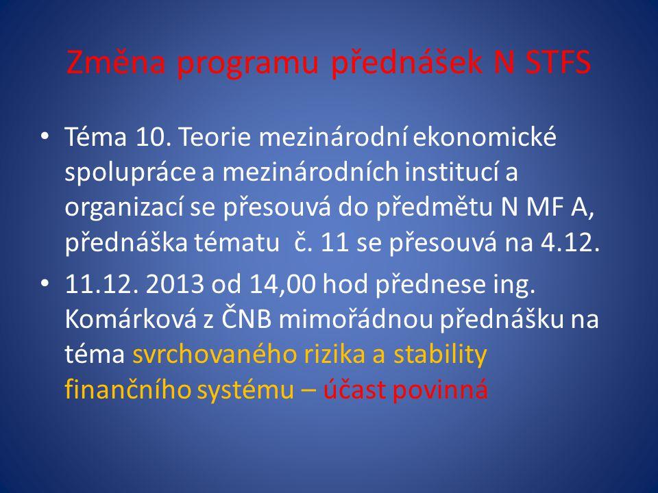 Změna programu přednášek N STFS