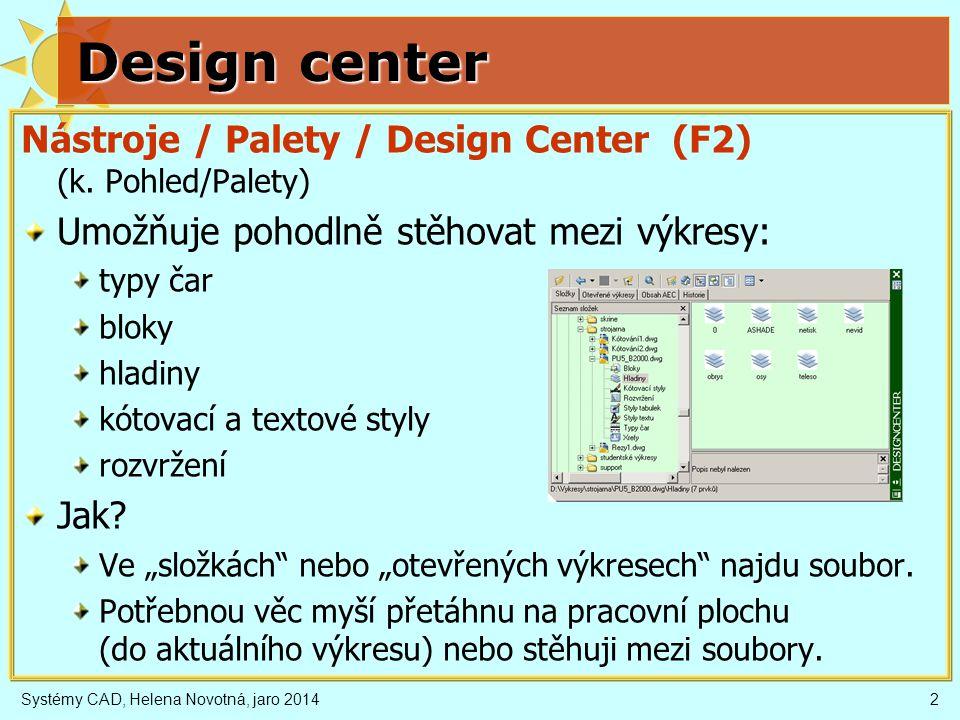 Design center Nástroje / Palety / Design Center (F2) (k. Pohled/Palety) Umožňuje pohodlně stěhovat mezi výkresy:
