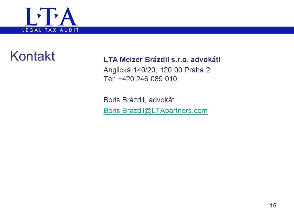 Kontakt LTA Melzer Brázdil s.r.o. advokáti