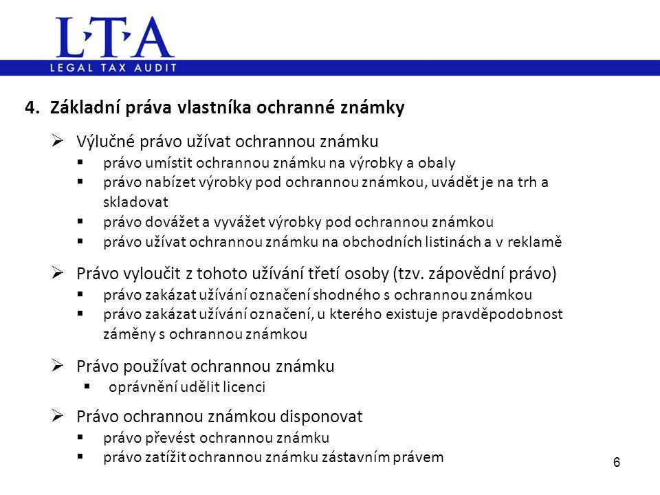 4. Základní práva vlastníka ochranné známky
