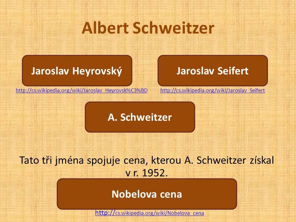 Tato tři jména spojuje cena, kterou A. Schweitzer získal v r. 1952.