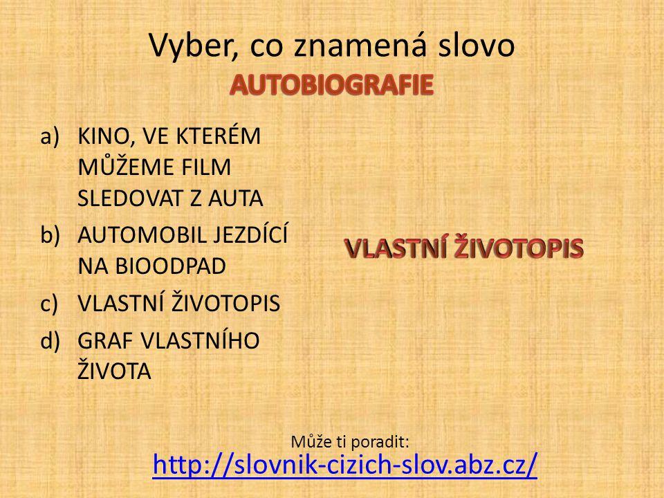 Vyber, co znamená slovo AUTOBIOGRAFIE