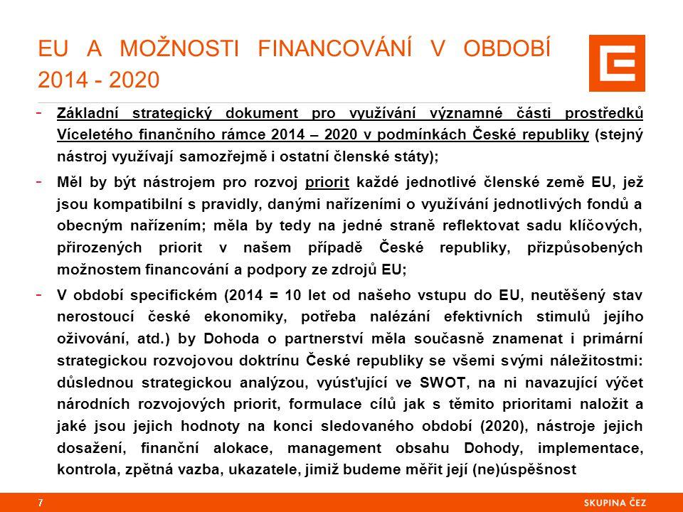 EU A MOŽNOSTI FINANCOVÁNÍ V OBDOBÍ 2014 - 2020