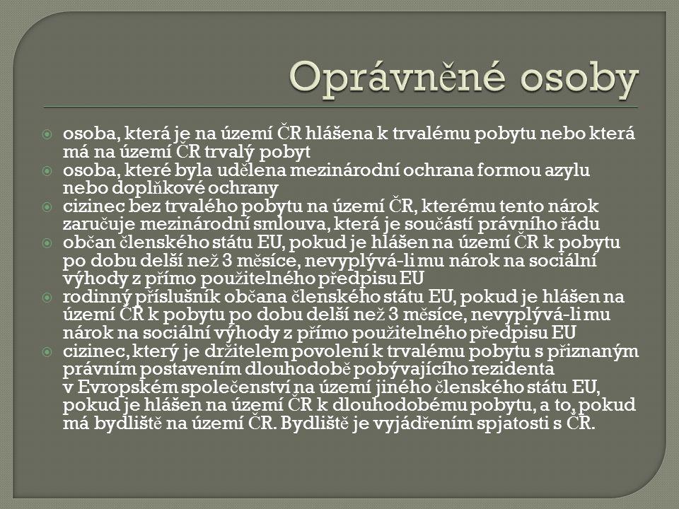 Oprávněné osoby osoba, která je na území ČR hlášena k trvalému pobytu nebo která má na území ČR trvalý pobyt.