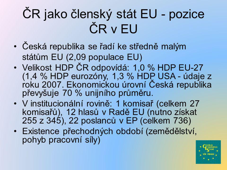 ČR jako členský stát EU - pozice ČR v EU