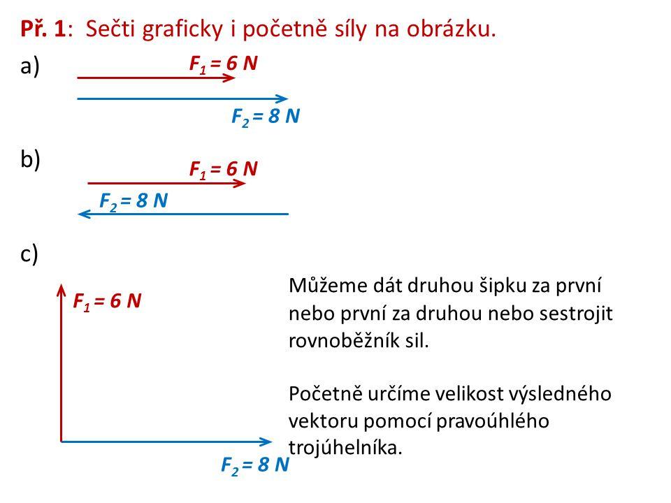 Př. 1: Sečti graficky i početně síly na obrázku. a)