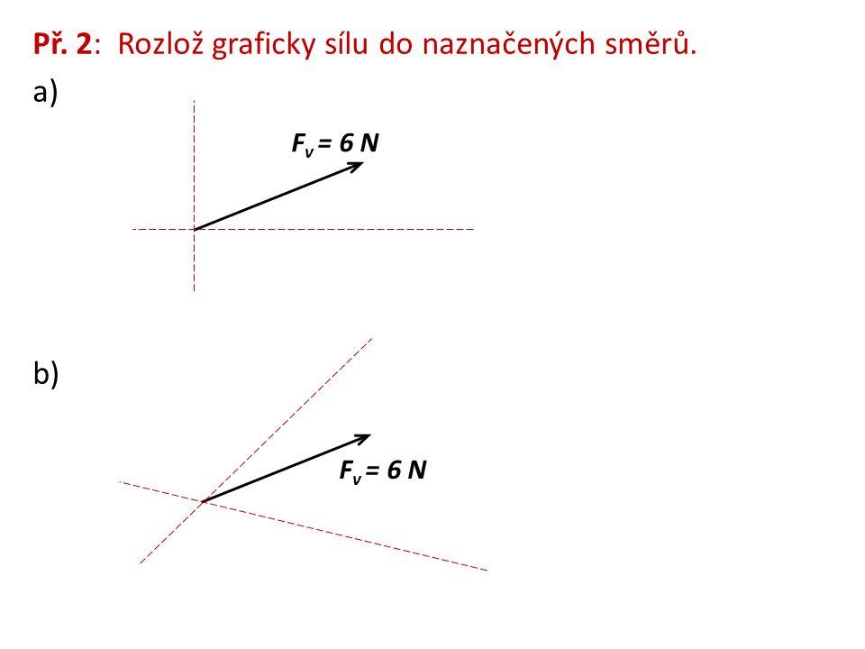 Př. 2: Rozlož graficky sílu do naznačených směrů. a)