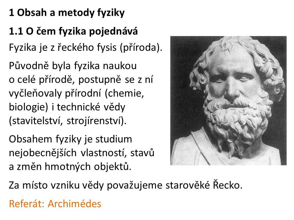 1 Obsah a metody fyziky 1.1 O čem fyzika pojednává. Fyzika je z řeckého fysis (příroda).