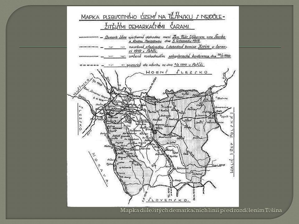 Mapka důležitých demarkačních linií před rozdělením Těšína