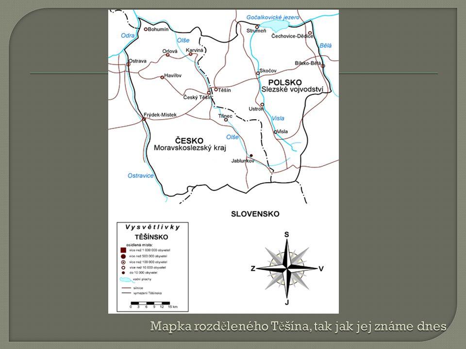 Mapka rozděleného Těšína, tak jak jej známe dnes