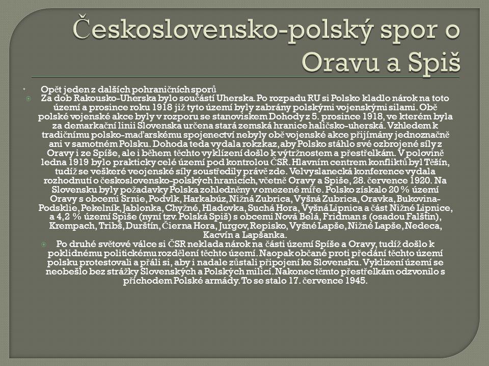 Československo-polský spor o Oravu a Spiš