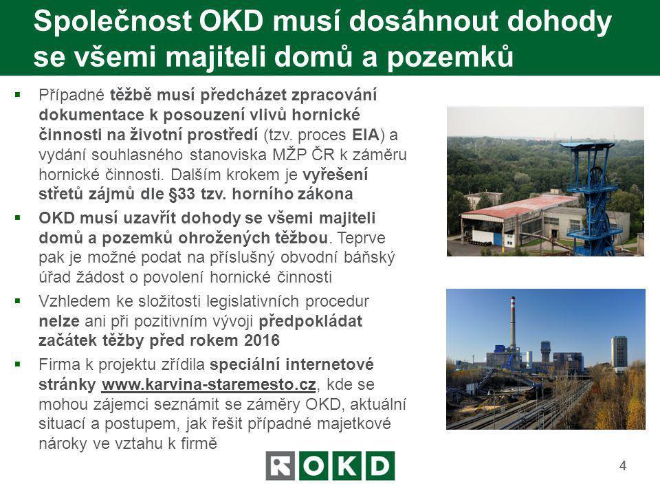 Společnost OKD musí dosáhnout dohody se všemi majiteli domů a pozemků