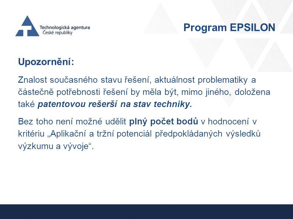 Program EPSILON Upozornění: