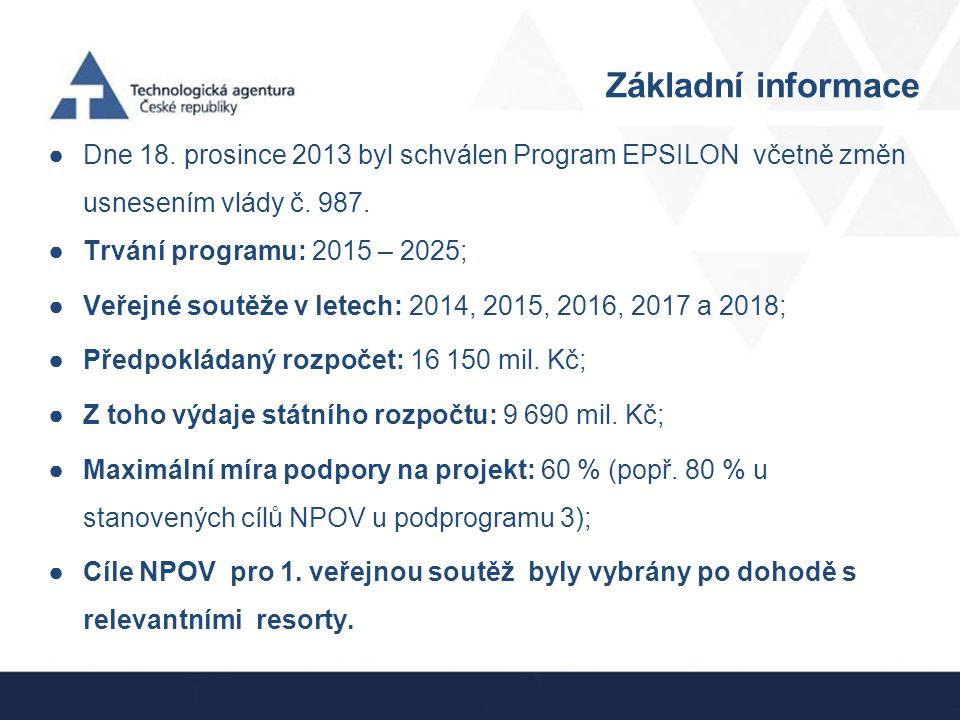 Základní informace Dne 18. prosince 2013 byl schválen Program EPSILON včetně změn usnesením vlády č. 987.