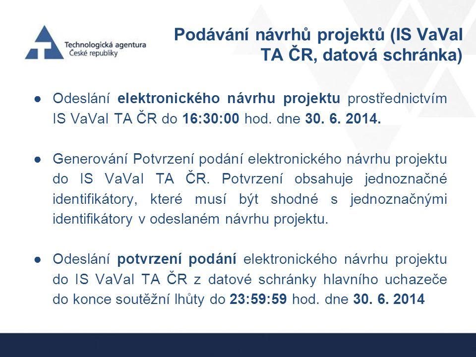 Podávání návrhů projektů (IS VaVaI TA ČR, datová schránka)